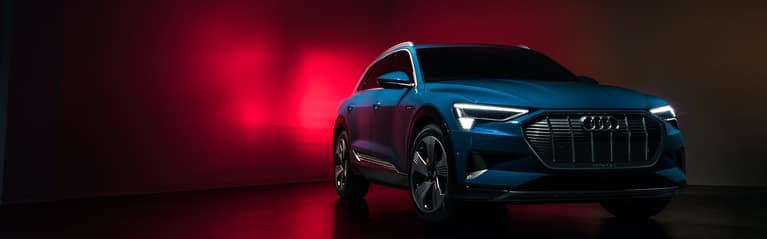 Elevated front profile of the Audi e-tron quattro.